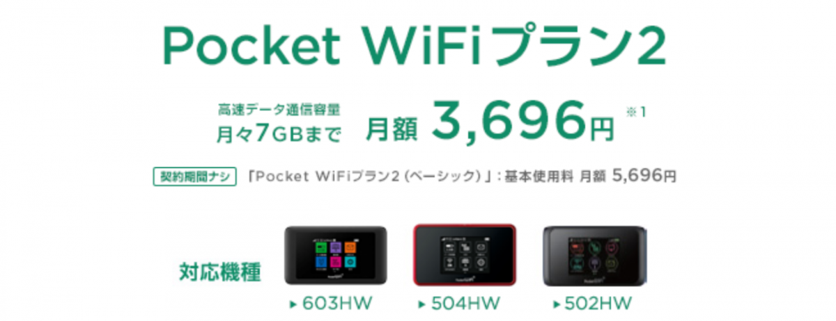 Pocket WiFiプラン2